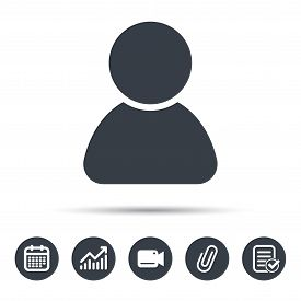 User icon. Human person symbol. Avatar login sign. Calendar, chart and checklist signs. Video camera and attach clip web icons. Vector