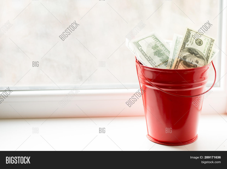 Dollar Bills Red Pail Image & Photo (Free Trial)   Bigstock