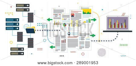 Cloud Storage, Backup And File Sharing. Data Server Access, File Access And Data Sharing. Flat Desig