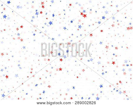American Memorial Day Stars Background. Confetti In Us Flag Colors For Independence Day.  Stylish Re