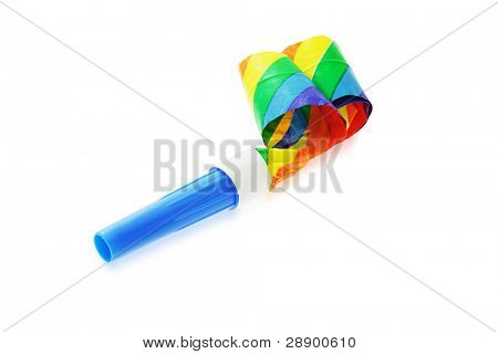Colorful party blower isolated on white background