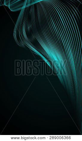Abstract Bright Wavy Lines On A Dark Blue Background Futuristic Technology Illustration Design Wave