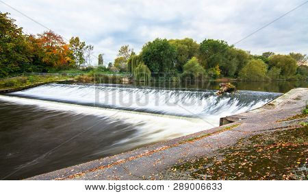 The Shrewsbury Weir On The River Severn In Shropshire, England.