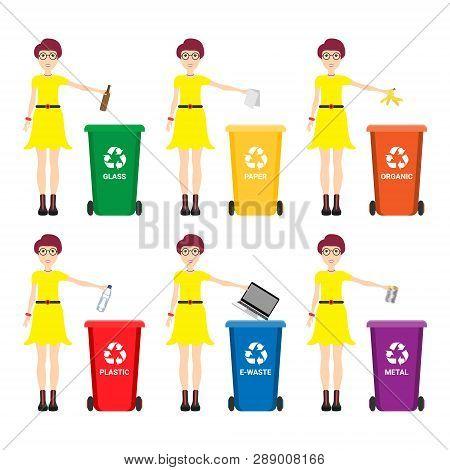Caucasian Woman Throwing Away Garbage. Woman Standing Near Six Bins And Throwing Away Garbage In An