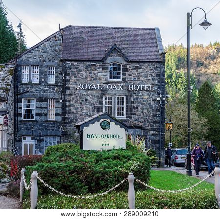 Betws Y Coed, Uk - Feb 2, 2019: The Royal Oak Hotel In Betws Y Coed Provides Dining & Accomodation T