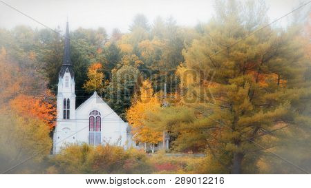 Church near Woodstock Vermont shot in morning fog