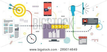 Business Marketing, Analytics And Strategy. Advertising And Marketing Communication Icons. Social Ne