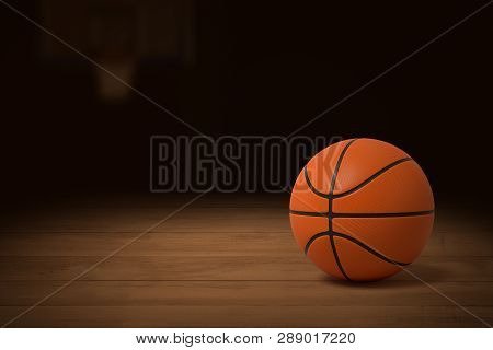 3d Rendering Of A Basketball On The Wooden Floor Of A Dimly Lit Gym.