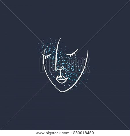 Fresh Face Water Drops Woman Portrait Art. Stylish Unusial Print For Clothes, Textile And Other. Goo