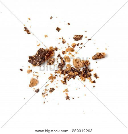 Chocolate Chip Cookie With Crumbs  Isolated On White Background. Close Up