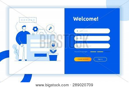 Login Ui Ux Design Concept And Illustration With Big Modern People, Privacy Icons, Inputs, Forms. Ve