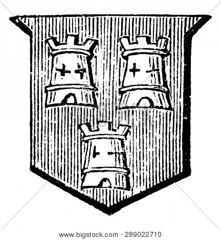 Towers Embattled have three towers, vintage line drawing or engraving illustration.