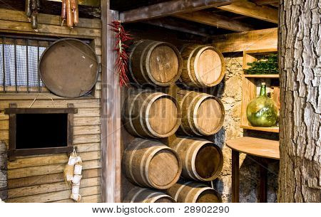 Wine cellar in the famous Balcony house, located in Tenerife, Spain. Includes blank blackboard.