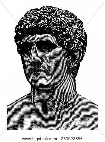 Bust of Mark Antony,  a Roman politician and General, the best friend of Gaius Julius Caesar, historians today as the Second Triumvirate, vintage line drawing or engraving illustration.