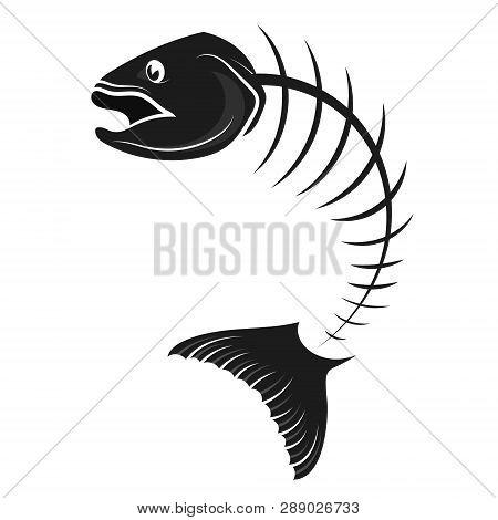 Fish Skeleton Bone Silhouette Vector Animal, Icon