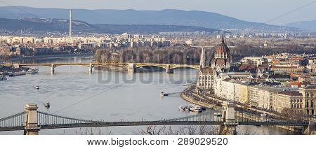 Danube River And The Parliament In Budapest - February 23, 2019; Panoramic View Of Budapest With Par