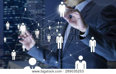 Business Administrator In Action Of Manpower Or Human Resource Planning Or Business Organisation On