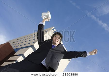 Happy businessman receiving good news poster