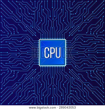 Chip Electronic Pattern For Computer Technology, Motherboard Integrated Computing Illustration