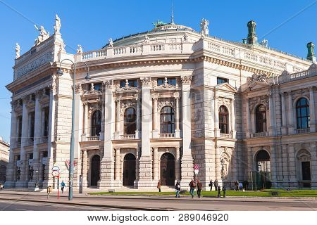 Vienna, Austria - November 2, 2015: Exterior Of The Burgtheater, It Is The Austrian National Theatre