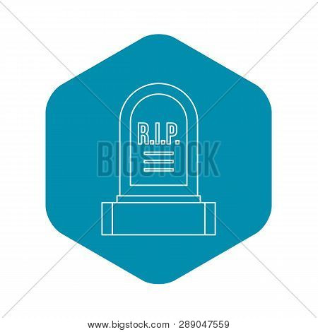 Headstone Icon. Outline Illustration Of Headstone Vector Icon For Web