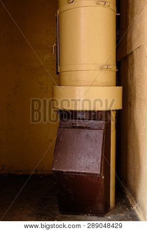 Old Garbage Chute In Apartment Building With Cheap Apartments - Rubbish Chute In A Soviet Block Of F