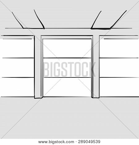 Empty Large Office With Windows. Hand Drawn Vector Illustration. Series Of Sketched Business Backgro
