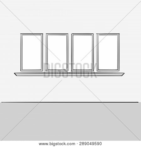 Empty Office Wall With Windows. Hand Drawn Vector Illustration. Series Of Sketched Business Backgrou