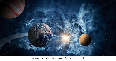 Planets Of The Solar System Against The Background Of A Galaxy In Space. Elements Of This Image Furn