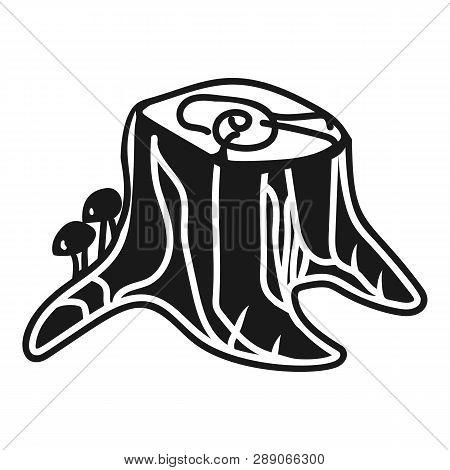 Stump With Honey Agarics Icon. Simple Illustration Of Stump With Honey Agarics Icon For Web Design I