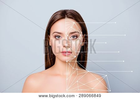 Close-up Portrait Of Nice Lady Pure Perfect Flawless Smooth Shine Clean Clear Skin Lines Showing Mar
