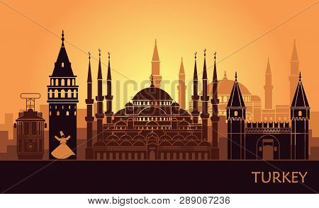 Abstract Landscape Of Istanbul With The Main Sights