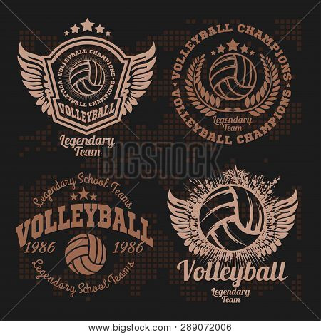 Set Badges Logos Volleyball Teams And Tournaments, Championships Volleyball.