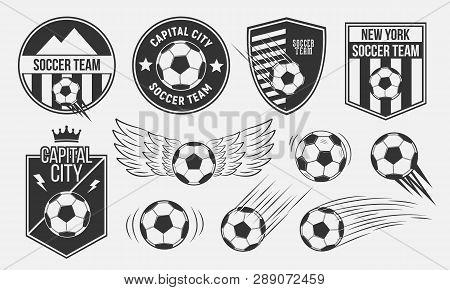 Soccer, Football Emblems Templates. Soccer Team Emblems, Labels, Logo. Vector Illustration