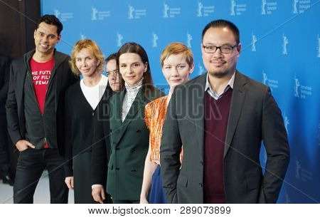 Rajendra Roy, Trudie Styler, Sebastian Lelio, Juliette Binoche, Sandra Hueller, Justin Chang  pose at Jury photocall during the 69 Festival Berlin at Hyatt Hotel on  February 07, 2019 Berlin, Germany.