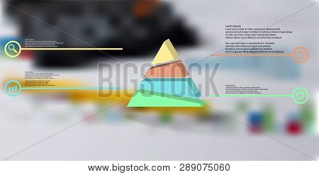 3d Illustration Infographic Template. The Embossed Triangle Is Randomly Divided To Four Color Parts.