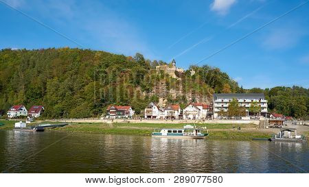 Rathen, Germany - October 04, 2018: The Resort Rathen In The Elbe Sandstone Mountains In The Saxon S