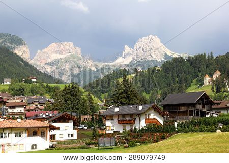 Villages In Dolomites Mountain Regions With Dolomites Peaks, South Tirol, Italy