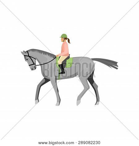 Woman Riding Gray Jogging Horse Isolated Against White Background