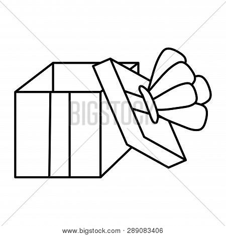 Line Open Present Box With Crown Style Vector Illustration