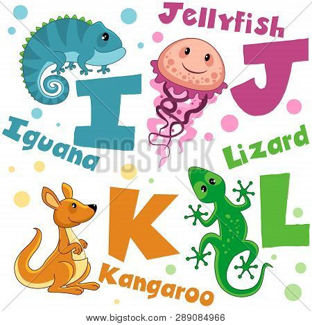 A Set Of Letters With Pictures Of Animals, Words From The English Alphabet. For The Education Of Chi
