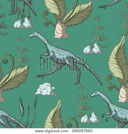 Compsognathus Dinosaur Seamless Pattern. Jurassic And Cretaceous Animal. Prehistoric Vector Dino Sea