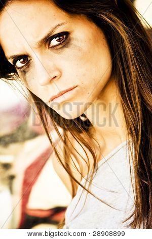 Furious woman portrait staring at camera.