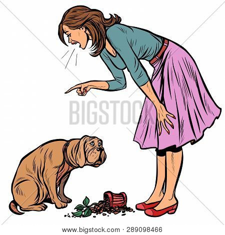 Woman Scolds Guilty Dog. Broken Pot With Flower. Isolate On White Background Pop Art Retro Vector Il