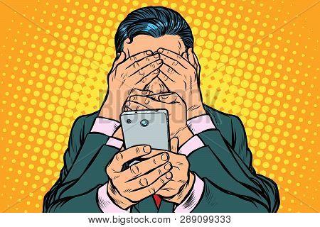 Internet Censorship Concept. Man With Smartphone. Pop Art Retro Vector Illustration Vintage Kitsch