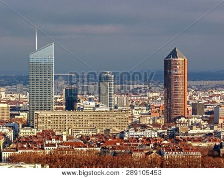 Lyon, France - January, 2019: The District Of La Part-dieu Is The Central Business District Of Lyon,