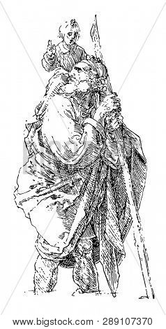 St. Christopher by German artist Albrecht Dürer is widespread in the Western Church and monasteries were named after him by the 7th century, vintage line drawing or engraving illustration.