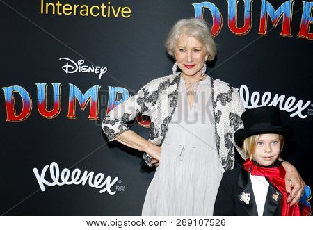 Waylon Hackford and Helen Mirren at the World premiere of 'Dumbo' held at the El Capitan Theatre in Hollywood, USA on March 11, 2019.