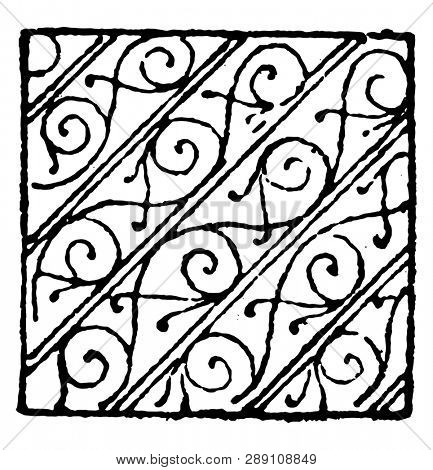 Bendy with Scrollwork Damaskeening are used in heraldry, vintage line drawing or engraving illustration.