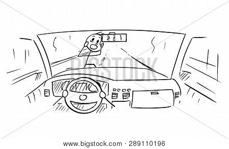 Cartoon Stick Figure Drawing Conceptual Illustration Of Car Dashboard And Drivers Hands On Steering